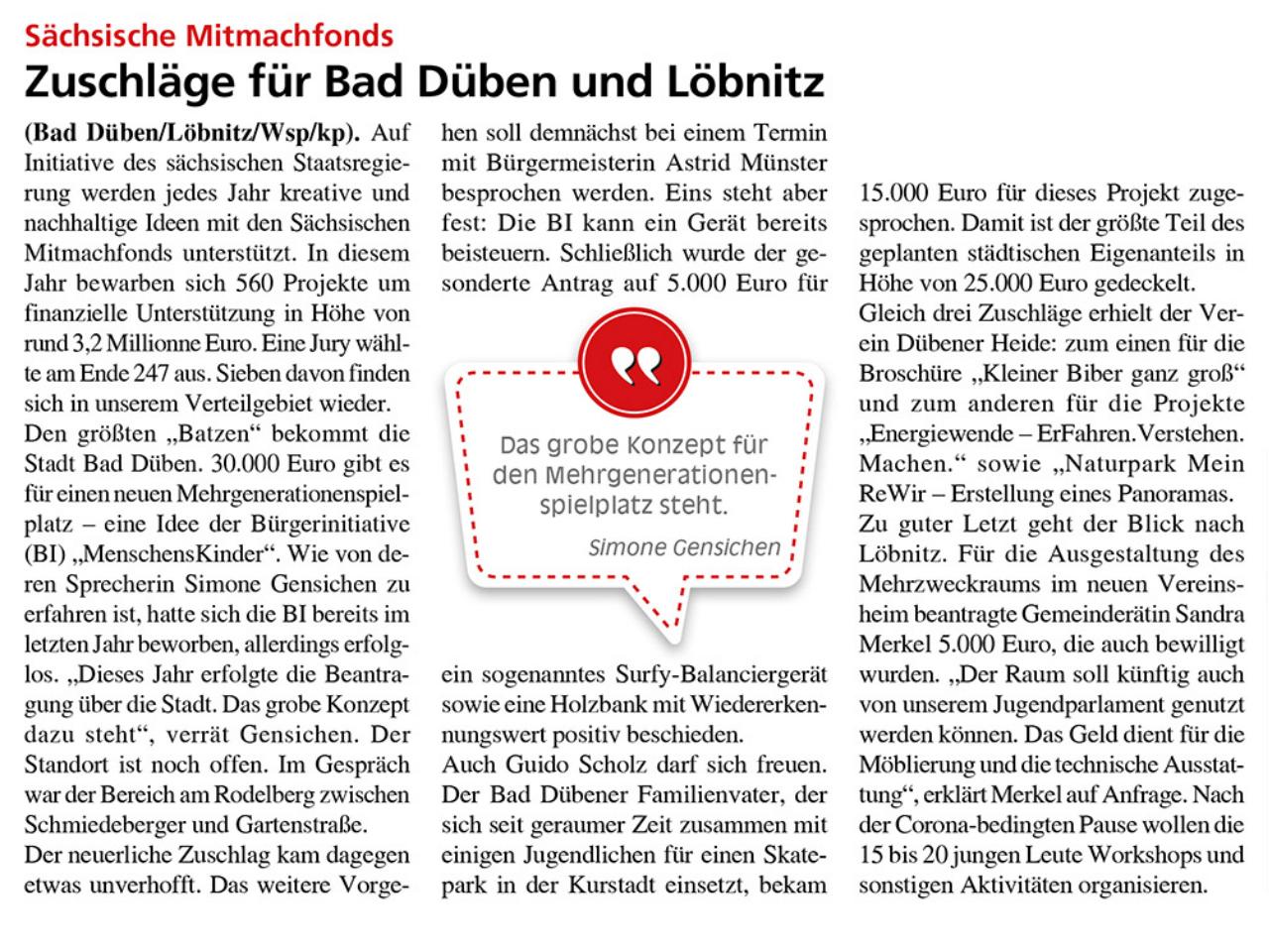 Dübener Wochenspiegel vom 17.06.2020